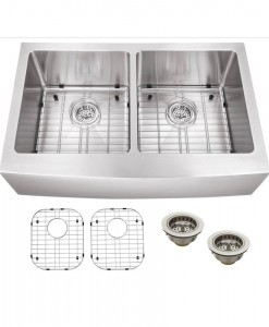 Schon All-in-One Apron Front Undermount Stainless Steel 32-7/8x19x10 0-Hole Double Bowl Kitchen Sink